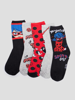 Lot 5 chaussettes Miraculous rouge fille