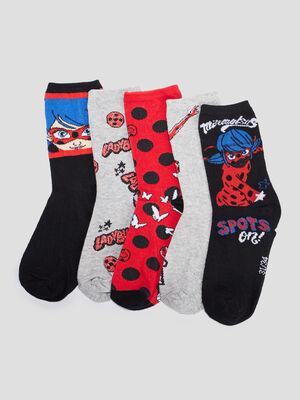 Lot 5 chaussettes Miraculous rouge fille