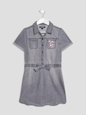 Robe droite en jean denim gris fille