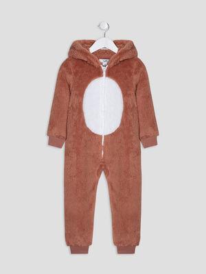 Combinaison pyjama a capuche marron garcon