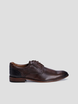 Derbies en cuir patine marron homme