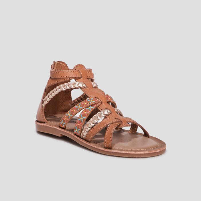 Sandales en cuir Creeks fille marron