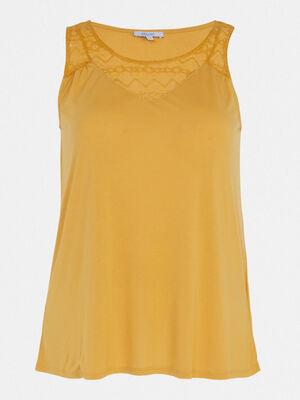 Debardeur avec dentelle fantaisie jaune moutarde femme
