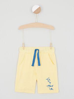 Bermuda chine taille elastiquee coton jaune garcon