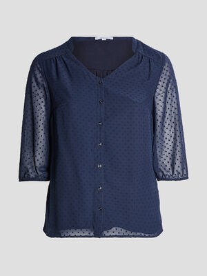 Chemise manches 34 bleu marine femmegt