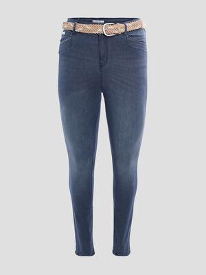 Jeans slim ceinture bleu gris femmegt