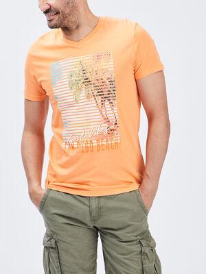 T shirt manches courtes orange homme
