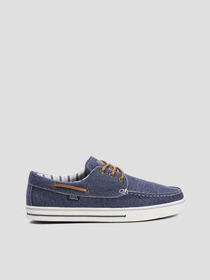 Chaussures bateau en jean bleu homme