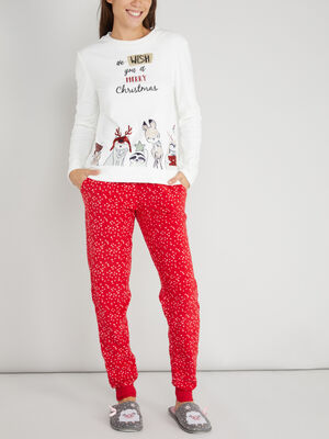 pyjama theme noel long imprime rouge femme