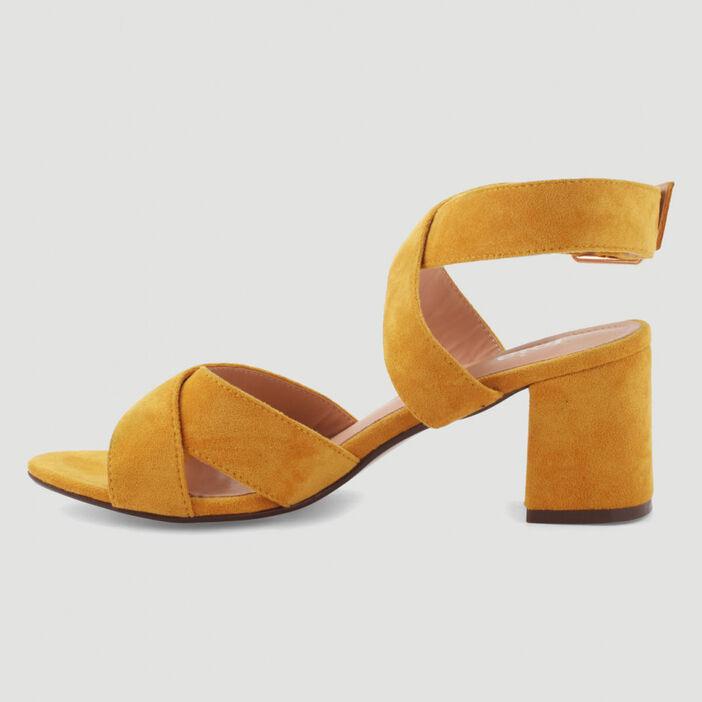 Sandales à brides croisées femme jaune