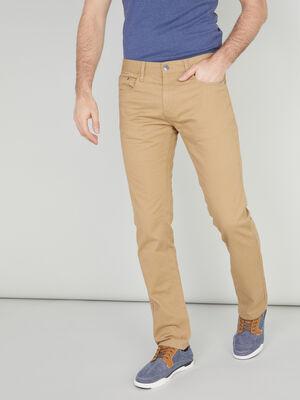 Pantalon droit coton uni beige homme