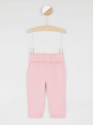 Pantalon uni elastique rose fille