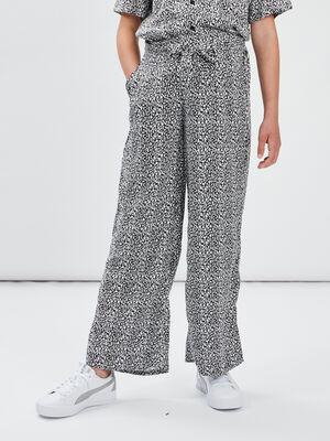 Pantalon paperbag fluide noir fille