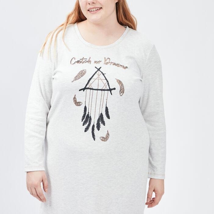 Chemise de nuit femme grande taille gris