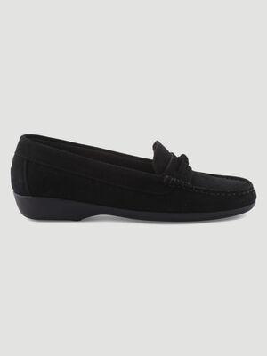 Mocassins confort en cuir noir femme