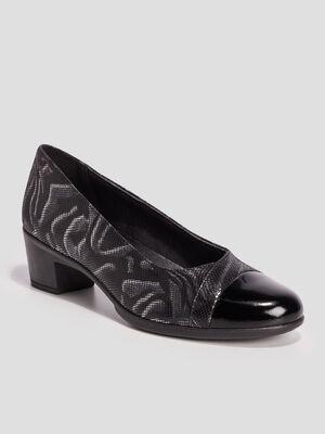 Escarpins en cuir a talons noir femme