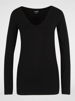 T shirt col V ajuste noir femme