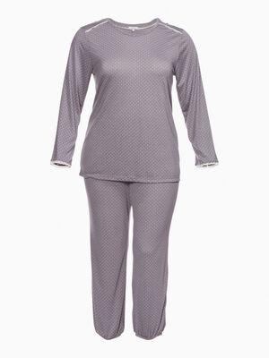 Pyjama a pois grande taille rose clair femme