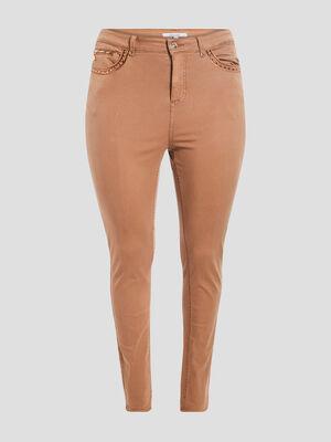 Pantalon skinny taille haute camel femme