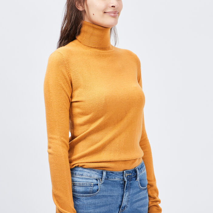 Pull col roulé femme jaune moutarde