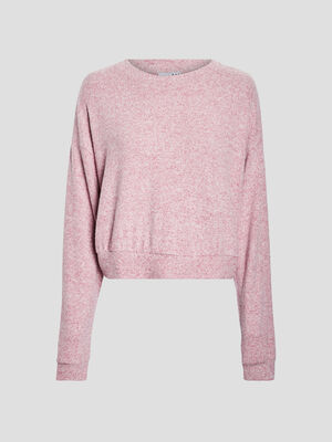 Sweat manches longues rose framboise femme