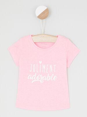 T shirt message imprime devant rose fluo fille