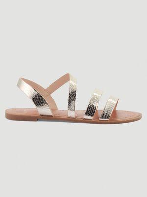 Sandales plates effet python couleur or femme