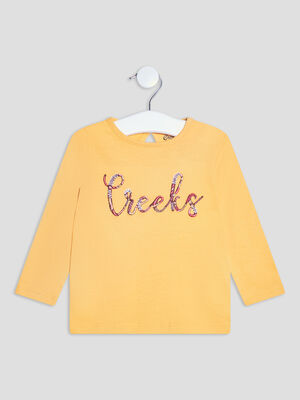 T shirt manches longues Creeks jaune moutarde bebef