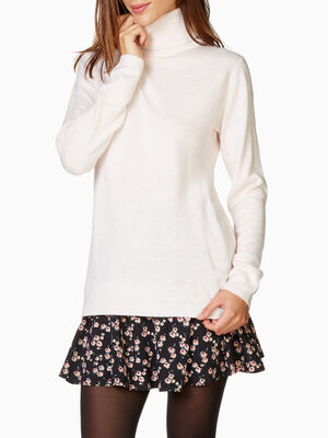 Pull col roule toucher cachemire rose femme