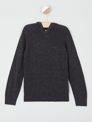 Pull chine a capuche gris fonce garcon