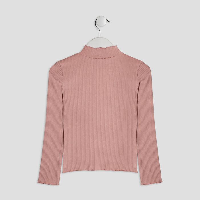 T-shirt manches longues côtelé fille rose