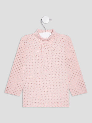 T shirt a col roule rose clair bebef