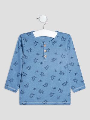 T shirt manches longues bleu bebeg