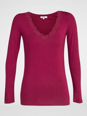 T shirt col V avec dentelle prune femme
