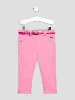 Pantalon droit ceinture rose fushia bebef