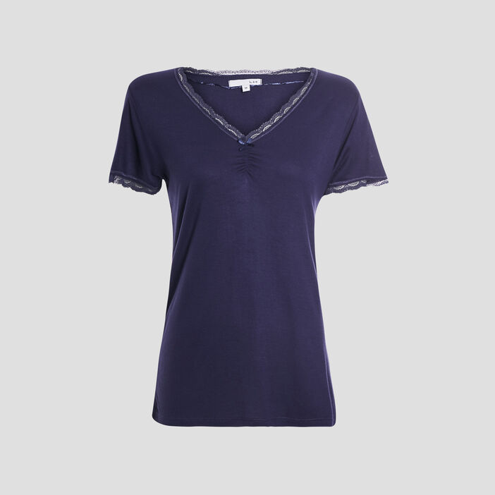 T-shirt de pyjama femme bleu marine