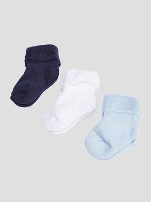 Lot 3 paires chaussettes bleu mixte