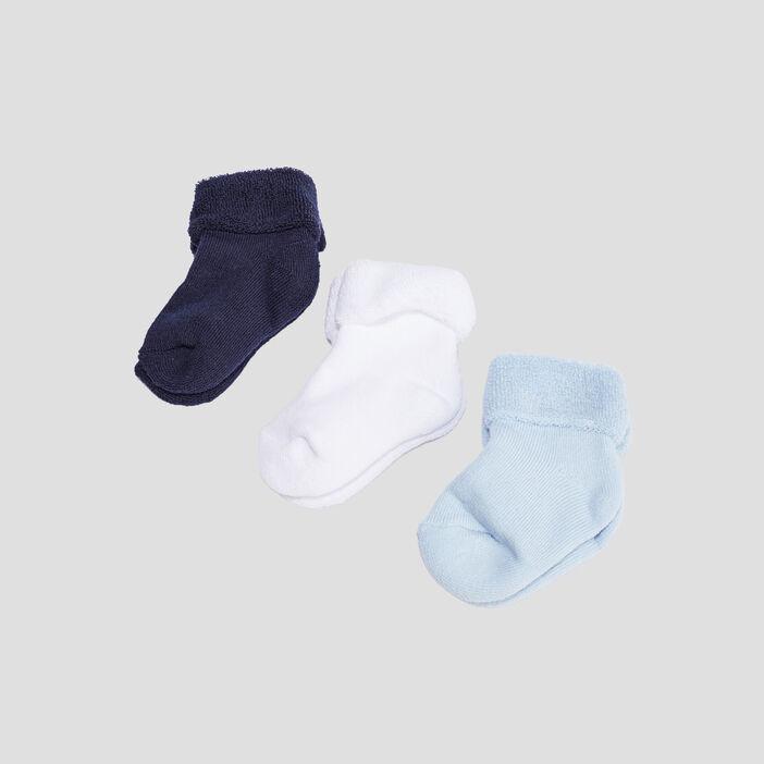 Lot 3 paires chaussettes mixte bleu