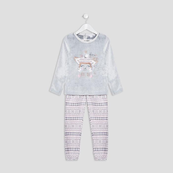 Ensemble pyjama 2 pièces fille gris