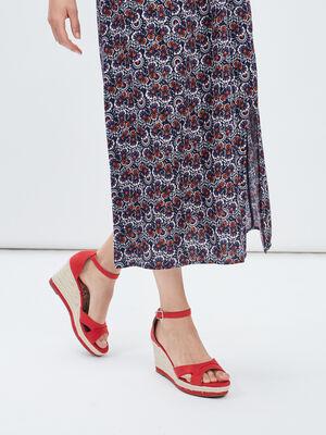 Sandales compensees rouge femme