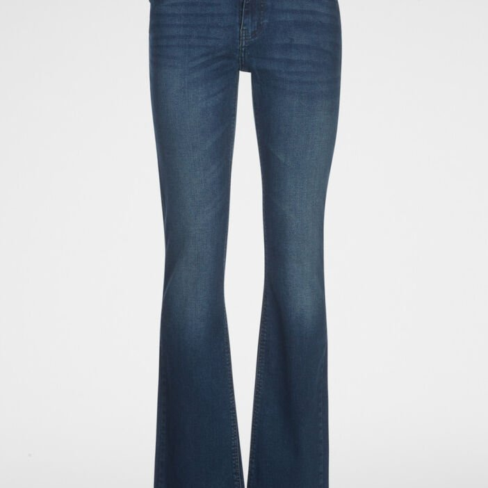 Jeans bootcut taille basse femme denim dirty