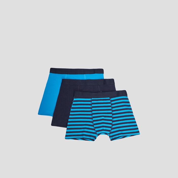 Lot 3 boxers garçon bleu turquoise