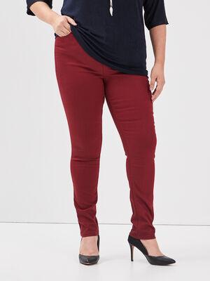 Pantalon slim 5 poches bordeaux femme