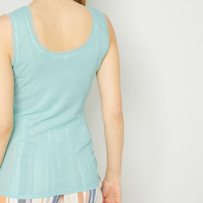 Débardeur bordures dentelle  femme bleu turquoise