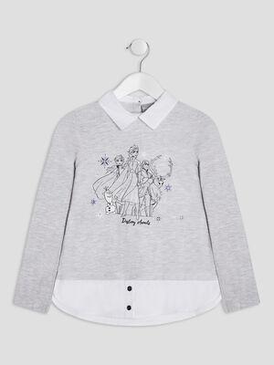 T shirt La reine des neiges gris clair fille