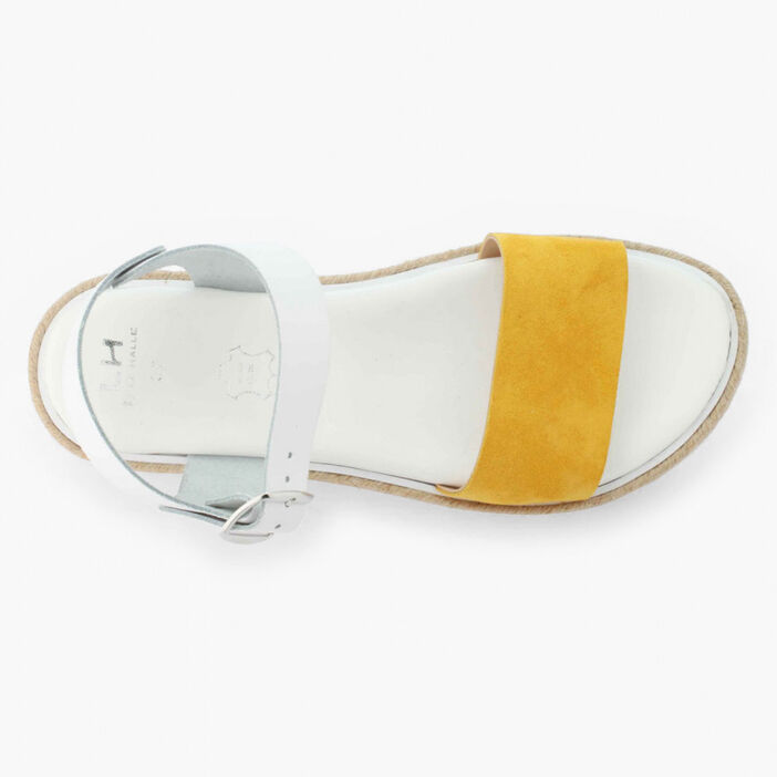 Sandales bicolores en cuir femme jaune