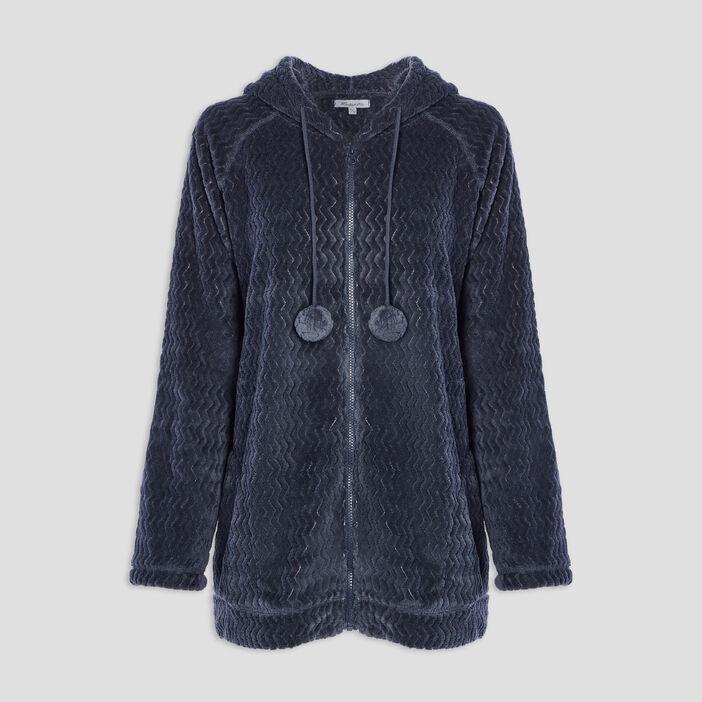 Gilet de pyjama à capuche femme grande taille gris