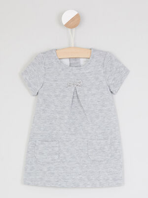 Robe trapeze a manches courtes gris fille