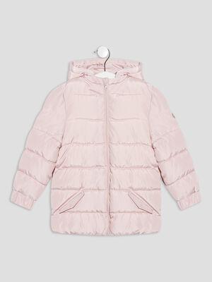 Doudoune droite a capuche rose bebef