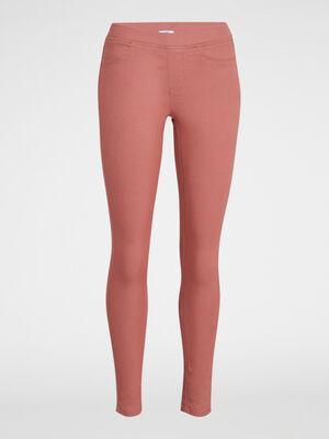 Pantalon uni coupe skinny rose femme